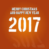 Vector modern minimalistic Happy new year card for 2017 with main big numbers - orange version. Vector modern minimalistic Happy new year card for 2017 with main Royalty Free Illustration