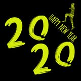 Vector modern minimalistic Happy new year card for 2020 with main big numbers and a runner - dark version with yellow letters.  vector illustration