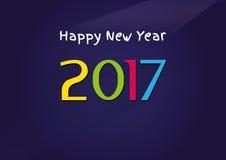 Vector modern minimalistic Happy New Year 2017 vintage blue celebration card - vintage blue styled version, eps stock image. Stock Image