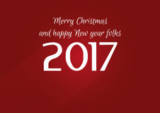 Vector modern minimalistic Happy New Year 2017 vintage red celebration card - vintage red styled version, eps stock image. Stock Image