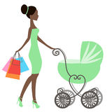 Vector of modern mommy with vintage  baby carriage, online store, logo, silhouette, sale Royalty Free Stock Images