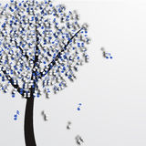 Vector modern music tree on white Royalty Free Stock Photos