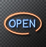 Vector modern neon sign on transparent background. Open frame banner. Royalty Free Stock Photography