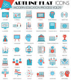 Vector Modern online education ultra modern outline artline flat line icons for web and apps. Stock Photo