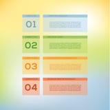 Vector modern ontwerpmalplaatje. Vier stappen in verschillende kleuren. Stock Afbeelding