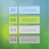 Vector modern ontwerpmalplaatje. Vier stappen in verschillende kleuren. Stock Foto's