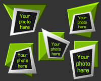 Vector modern origami geometric lime 3D frames on dark background. Vector illustration Stock Photo