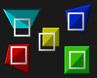 Vector modern origami geometric multicolor 3D frames on black background. Vector illustration Royalty Free Stock Image