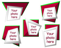 Vector modern origami geometric red and green 3D frames on white background Stock Images