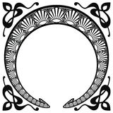 Vector modern ornament. Vector circular ornament in modern style. Black drawing on white background royalty free illustration