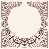 Vector modern ornament. Vector circular ornament in modern style. Brown drawing isolated on beige background vector illustration