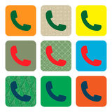 Vector modern phone icon set in button.  Royalty Free Stock Photography