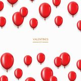 Vector modern red balloons background for happy birthday or valentine day. Event invitation Royalty Free Stock Images