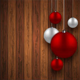 Vector modern red christmas balls background Royalty Free Stock Image