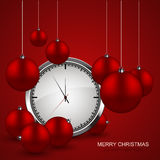 Vector modern red christmas balls with watch background. Xmas invitation card. Eps10 stock illustration