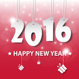 Vector Modern red simple Happy new year 2016 card with a long sh Stock Photos