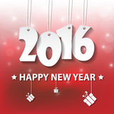 Vector Modern red simple Happy new year 2016 card with a long sh. Adow effect Stock Photo