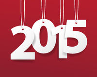 Vector Modern red simple Happy new year 2015 card with a long shadow effect .Vector/illustration. Royalty Free Stock Images