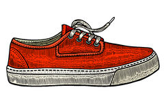 Vector modern red sneakers Royalty Free Stock Images