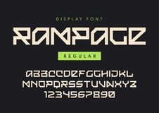 Vector modern regular display font named Rampage, blocky typeface, futuristic uppercase letters and numbers, alphabet. stock illustration