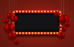 Vector modern retro billboard background with red Christmas balls.  Stock Photo