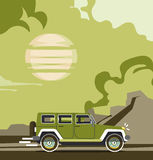 Vector modern retro blue jeep background. Tourism design. Travel by car. Retro travel car landscape Royalty Free Stock Images