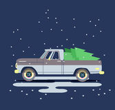 Vector modern retro brown pickup. Tourism design.Travel by flat car. Retro travel truck on background with christmas tree Stock Photography