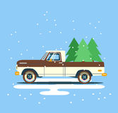Vector modern retro brown pickup. Tourism design.Travel by flat car. Retro travel truck on background with christmas tree Stock Photos