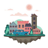 Vector modern retro car background. Tourism flat design. Travel by car on cityscape. Retro travel car with houses on white background Royalty Free Stock Image