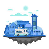 Vector modern retro car background. Tourism flat design. Travel by car on cityscape. Retro travel car with houses on white background Royalty Free Stock Photography