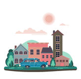 Vector modern retro car background. Tourism flat design. Travel by car on cityscape. Retro travel car with houses on white background Stock Photography