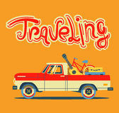 Vector modern retro car. Tourism design.Travel by car. Retro travel car on orange background in flat style Royalty Free Stock Images