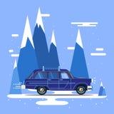 Vector modern retro car. Tourism design.Travel by car. Retro travel car Stock Photo