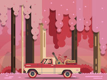 Vector modern retro car. Tourism design. Travel by car. Retro travel pickup Stock Image