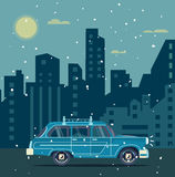 Vector modern retro car. Tourism flat design.Travel by car. City retro travel car Stock Photography