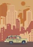 Vector modern retro car. Tourism flat design.Travel by car. City retro travel car Royalty Free Stock Images
