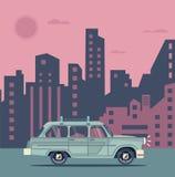 Vector modern retro car. Tourism flat design.Travel by car. Summer city retro travel car Royalty Free Stock Photo