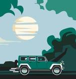 Vector modern retro jeep background. Tourism design. Travel by car. Retro travel car landscape Stock Photos