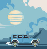 Vector modern retro jeep background. Tourism design.Travel by car. Retro travel car landscape Royalty Free Stock Image