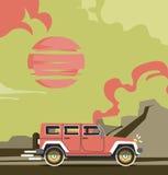 Vector modern retro jeep background. Tourism design.Travel by car. Retro travel car landscape Stock Image