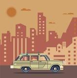 Vector modern retro orange car. Tourism trendy flat design. Travel by car. Cool retro travel car Stock Images