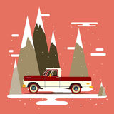 Vector modern retro pick up. Tourism design.Travel by car. Retro travel flat car on background Royalty Free Stock Photos