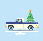 Vector modern retro pick up. Tourism design. Travel by car. Retro travel flat car with christmas tree on background Stock Photo
