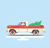 Vector modern retro pick up. Tourism design. Travel by car. Retro travel flat car with christmas tree on background Royalty Free Stock Photos