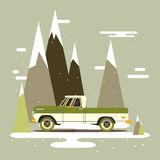 Vector modern retro pick up. Tourism trend design.Travel by car. Retro travel flat car on background Stock Photography