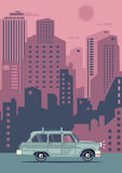 Vector modern retro pink car. Tourism flat design. Travel by cool car. Summer retro travel car Royalty Free Stock Photos