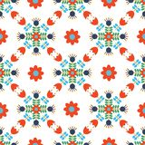 Vector Modern Scandi Daisy Floral Seamless pattern background Repeat Wallpaper Red and Blue vector illustration