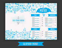 Vector modern seafood menu design. Hand drawn seafood menu. Great for seafood menu flyer, card, seafood menu business Stock Photos