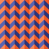 Vector modern seamless colorful geometry chevron lines pattern, color blue orange abstract Royalty Free Stock Images
