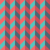 Vector modern seamless colorful geometry chevron lines pattern, color blue red abstract Stock Photo